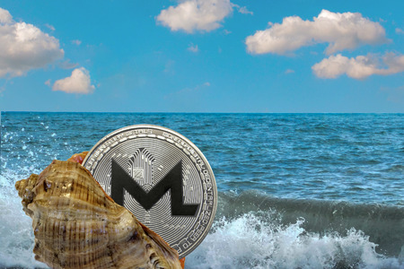 shell with a monero cryptocurrency coin on the background of sea waves and the ocean. Find  treasure. Vacation Freelance concept