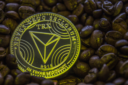 coin cryptocurrency Tron is on the coffee beans. TRX