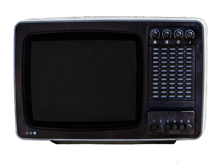the soviet analog retro TV on white background. Stock Photo