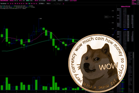 Coin cryptocurrency Dogecoin on a background financial chart. Doge