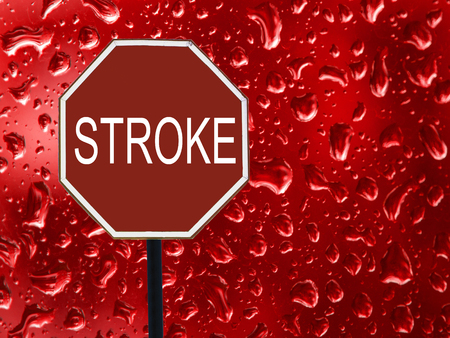 The road sign Stop stroke and red blood on the glass. 版權商用圖片