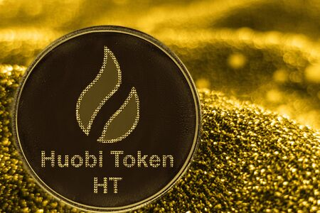 Coin cryptocurrency HT and gold fabric background. huobi token logo.