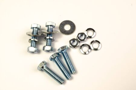 on a close-up shot of a small amount of automotive fasteners,