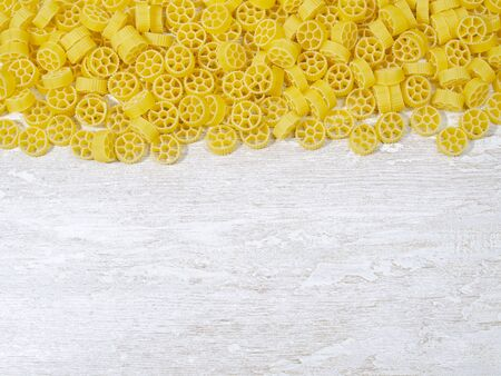 close-up wheel-shaped pasta. there is a place to add notes