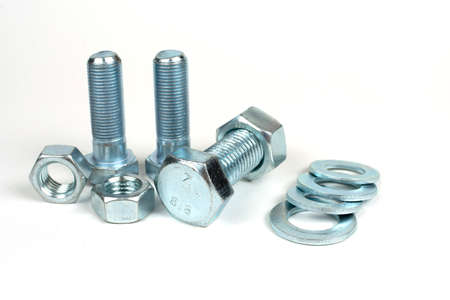 metal bolts with nuts and washers close up Standard-Bild