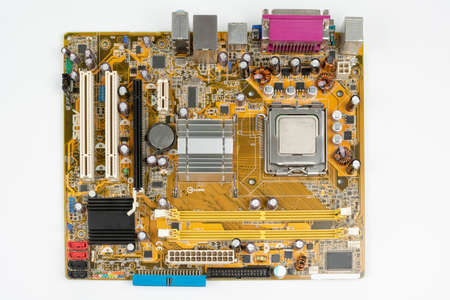 personal computer motherboard top view on white background