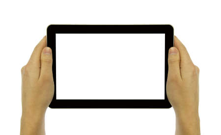 multitouch: Tablet in hand on white background Stock Photo