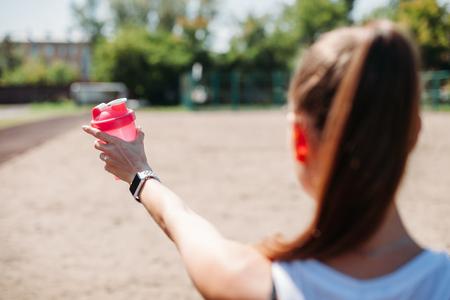 Smart watch on a sporting young woman wrist. 版權商用圖片