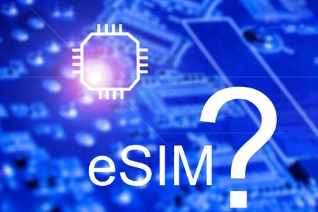 eSIM Embedded SIM card icon symbol concept. SIM card evolution concept. stock illustration. 写真素材
