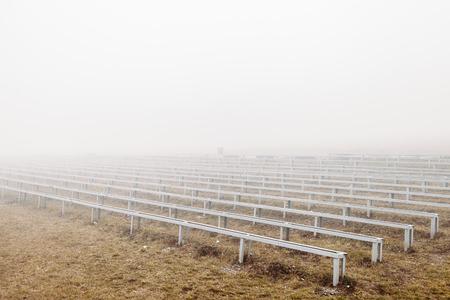 grandstand in fog. mystical dramatic photo 版權商用圖片
