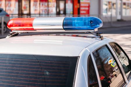 flashing light on police car Stock Photo