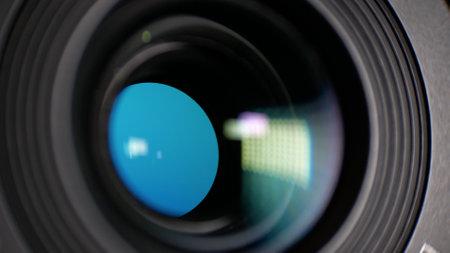Close up lenses camera lens in service center. Selective focus.