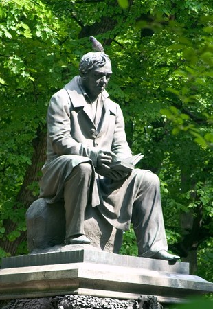 monument to the famous russian fabulist Krylov in Summer Garden (St. Petersburg, Russia)