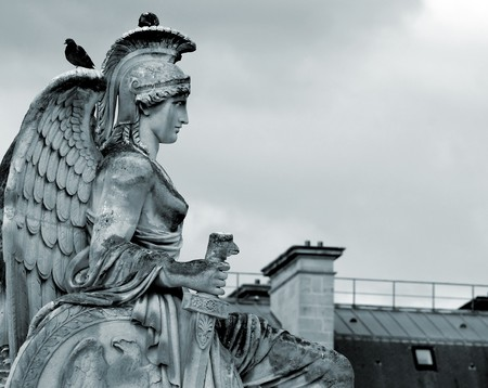 greek mythology: sculpture of the goddess Athena in Paris, France