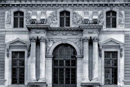 facade of the building in Paris, France