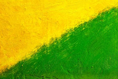 daubs: painted canvas (green and yellow colors on rough surface)
