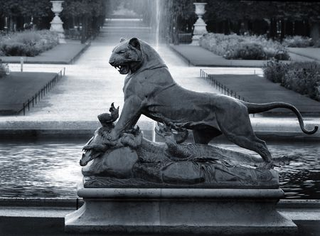 sculpture of panther and crocodile in Paris, France