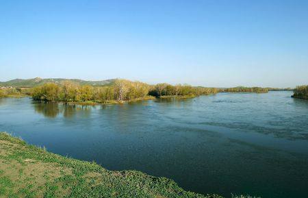 island on river in Kazakhstan photo