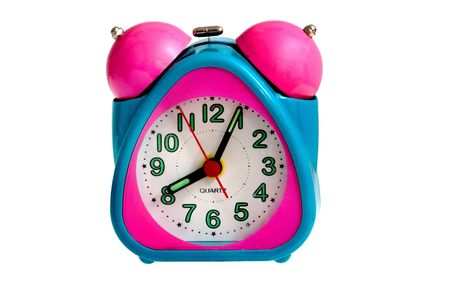 baby alarm clock (pink and turquoise colors isolated on white) Stock Photo - 4362550