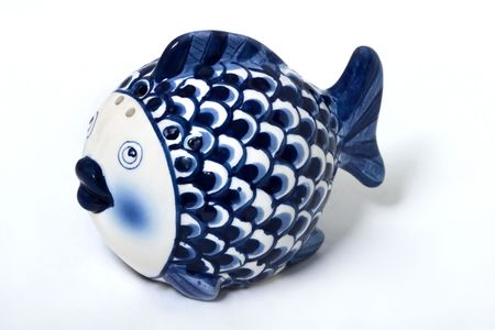 porcelain fish made in Gzhel-style (old craft of Russia) photo