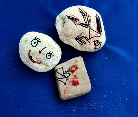 childrens drawings on the stones photo