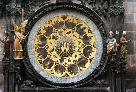 part of medieval clocks in Prague Stock Photo