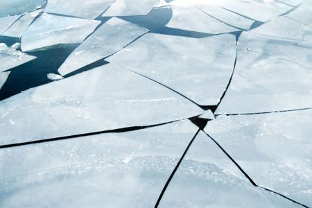 frozen lake: cracked ice on river