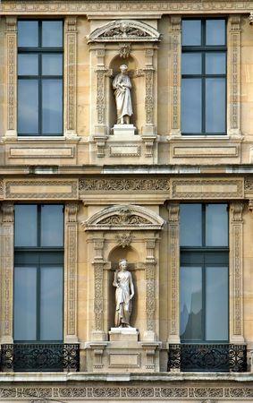 sculptures in niches, Paris Stock Photo