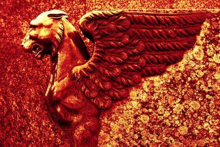 origen animal: escultura de grifo Foto de archivo