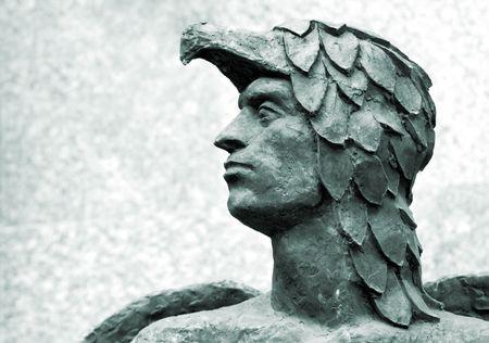 head of Icarus antique sculpture Stock Photo