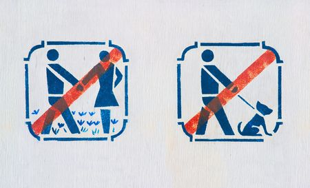 forbidding pictograms on board in park Stock Photo - 4518155