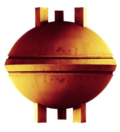 space invaders: orange stone UFO on tripod