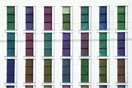 many windows: industrial building with colored windows Stock Photo