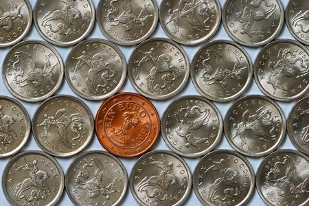 cheapest: 1 euro cent coin among russian cheapest coins