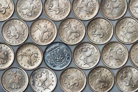 ukrainian 1 kopeck coin among russian cheapest coins photo