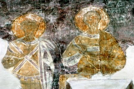 restoration of fresco in the church of Fedor Stratilat (Novgorod, Russia) photo