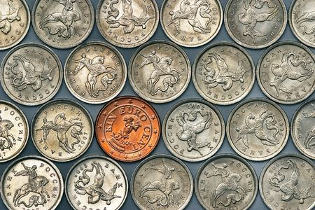 1 euro cent coin among russian cheapest coins photo