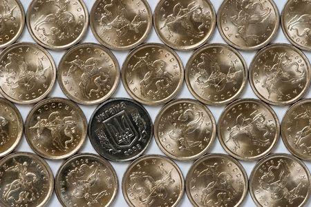 ukrainian 1 kopeck among russian coins photo