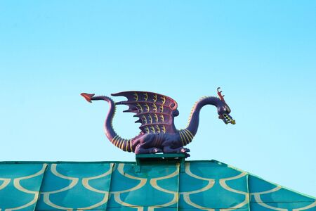dragon on roof of chinese pagoda Stock Photo