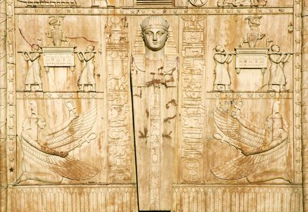 figures on the Egyptian gates in St. Petersburg, Russia