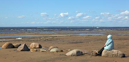 desert coastline with woman (2) photo