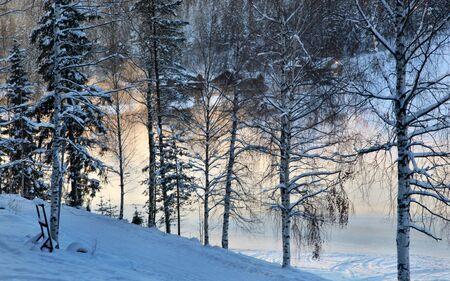 fog on lake in winter Stock Photo