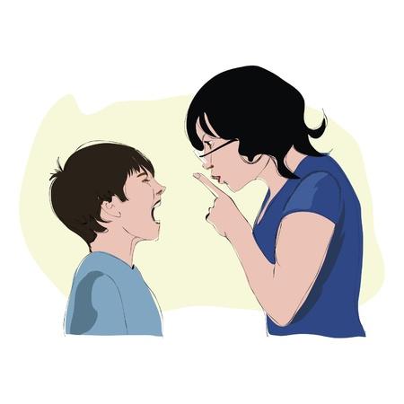 teaches: Teacher calms pupil who cries Illustration