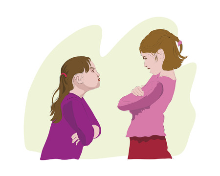 enmity: The quarrel of two girls  Vector, Illustration