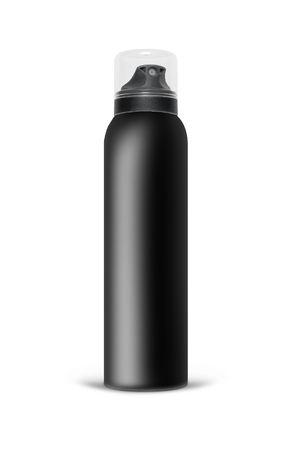 freshener: Black blank aluminum spray can isolated on white background. The black template bottle spray for design. With clipping path.