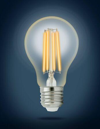 e27: LED filament light bulb (E27). Stock Photo