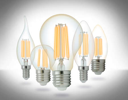 LED filament light bulbs set. With clipping path