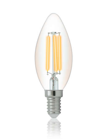 lumen: LED filament light bulb (E14). With clipping path