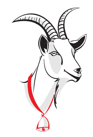 Head of the goat, vector image on white background. Illustration image design Stock Vector - 55097594