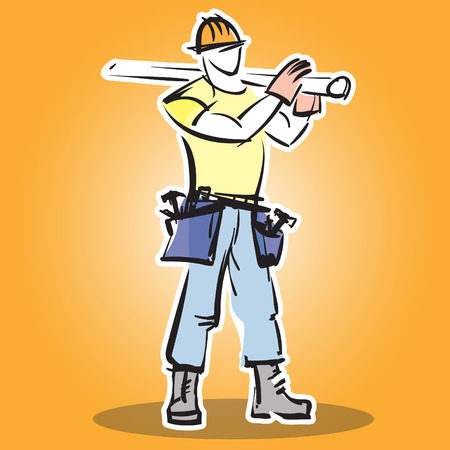protective wear: Builder construction worker in protective wear and the helmet does the job. Builder icon. Flat design vector illustration Illustration